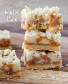 Salted Caramel Butter Bars - Incredibly easy to make! A buttery shortbread crumble surrounds a salted caramel filling for the perfect salty-sweet dessert!