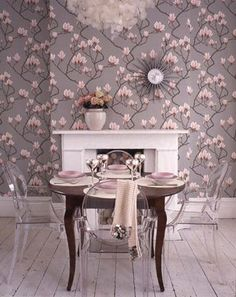 Paint up a shabby chic table to pair with ghost chairs. Desire to Decorate: Louis Love. that's Louis {Ghost Chair} Love Cole And Son Wallpaper, Of Wallpaper, Bedroom Wallpaper, Beautiful Wallpaper, Mesas Shabby Chic, Magnolia Wallpaper, Ghost Chairs, House Of Turquoise, Kitchens And Bedrooms