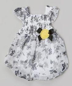 Look what I found on #zulily! Black & White Floral Smocked Bubble Bodysuit #zulilyfinds