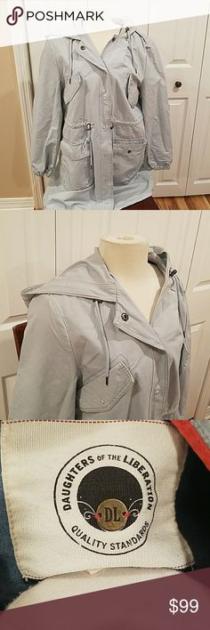 """ANTHROPOLOGIE """"FROZEN OCEAN """" ANORAK!! Anthropologie """"Frozen Oceans"""" Anorak  Daughters of the Liberation sturdy pale blue, cotton canvas coat, features a drawstring hood, hem & waist cinch cords. Snap front closure and multiple pockets. Machine wash. New without tags, size Large. Will fit 12-14 as waist is adjustable. Hits mid thigh. Originally over $200! Anthropologie Jackets & Coats"""