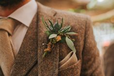 Buttonhole Flowers Groom Thistle Crab Lobster Wedding A Little Picture  #Tie #wedding #groom #groomsmen #buttonhole #thistle #brown #tweed #pocketsquare