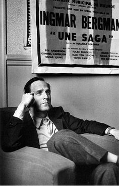 "Ingmar Bergman by Claude Azoulay (Paris - 1959).   Swedish director, writer and producer for film, stage and television. Described by Woody Allen as ""probably the greatest film artis."