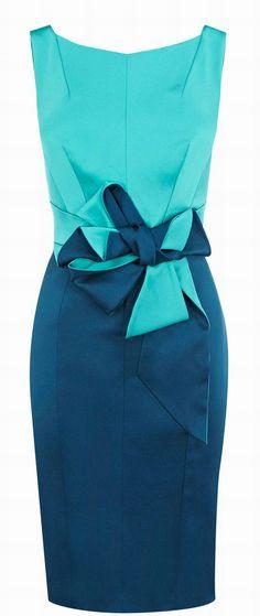 Karen Millen - Colorblocked Stretch Satin Dress