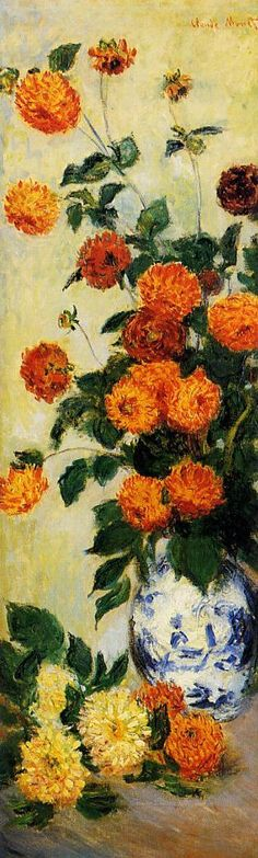 "Claude Monet aussi peint ""Dahlias"" dans la jardin de Argenteuil òu Monet jouè avec les effets de la lumière avec petites taches de couleur.    Claude Monet also painted ""Dahlias"" in the garden of Argenteuil where Monet played with the effects of light with tiny spots of colour."