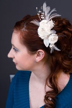 Triple Bridal Hair Flower with Feathers and Pearls