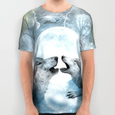 Wolves All Over Print Shirt #wolves #wolf #space #universe #fantasy #magical #fantastic #tshirt #art #fahsionable #unisexfashion #moon #stars