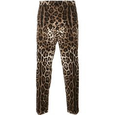 Dolce & Gabbana leopard print trousers (1,350 CAD) ❤ liked on Polyvore featuring men's fashion, men's clothing, men's pants, men's casual pants, brown, mens leopard print pants, mens slim pants, mens elastic waistband pants, dolce gabbana mens pants and mens brown pants