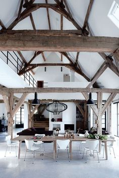 Those wood beams though… cotedemaison.fr The post Former barn turned into a dramatic loft appeared first on Daily Dream Decor.