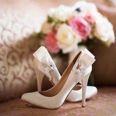 White Badgley Mischka Bridal Shoes | Laura Yang Photography | TheKnot.com
