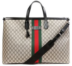 5b7bd18bbcd Amazon.com  Wiberlux Gucci Women s Logo Pattern With Stripe Accent Zip Top  Tote Bag