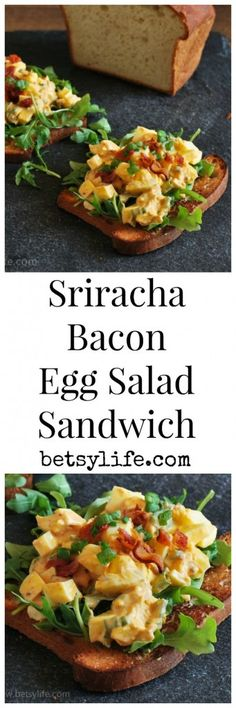 Sriracha Bacon Egg Salad Sandwich Recipe. An awesome way to bring a little spice into your boring lunch routine.