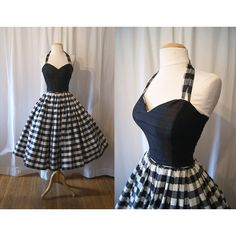 Designer 1980's does 1950's black and white silk gingham print new look party dress rockabilly prom timeless - size Medium (9.200 RUB) found on Polyvore
