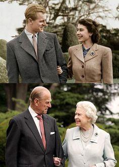 Queen Elizabeth and Prince Philip Ook dezelfde broche en dezelfde stropdas.. die blikken! Super!