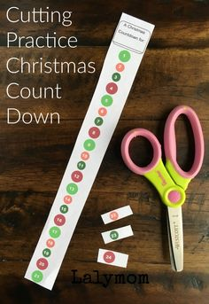 Cutting Practice Christmas Countdown Activities - Free Printable - LalyMom