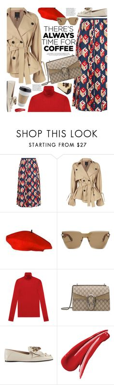 """Buzz-Worthy: Coffee Date"" by beebeely-look ❤ liked on Polyvore featuring Gucci, Marissa Webb, Givenchy, OUTRAGE, casual, pleatedskirts, pleats and CoffeeDate"