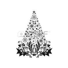 natale bianco e nero: Bella decorazione Natale isolato su sfondo bianco   Vettoriali