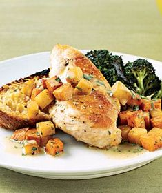 Sautéed Chicken With Sweet Potatoes and Pears