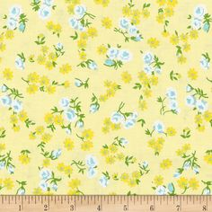 Designed by Lindsay Wilkes for Riley Blake, this cotton print fabric features colorful bouquets of spring's finest flowers. Perfect for quilting, apparel and home decor accents. Colors include white, green and shades of yellow and blue.