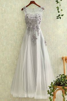 Appliqued gray tulle modest prom dress, homecoming dress, beautiful long dress for teens