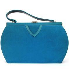 Vintage Cobalt Blue Velvet 1940s Handbag Purse Clutch ($45) ❤ liked on Polyvore