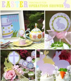 Easter printable set for a Baby Shower. Pinned for Kidfolio, the parenting mobile app that makes sharing a snap
