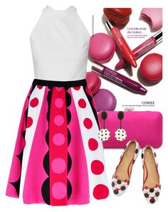 """""""Polka dots - Pink"""" by junethesev7n ❤ liked on Polyvore featuring Clinique, Charlotte Olympia and Oscar de la Renta"""