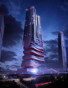Concept: PieXus Tower, Maritime Transportation Hub Skyscraper For Hong Kong.