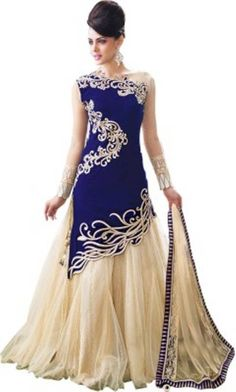 Bhakti Creation Embroidered Women's Lehenga Choli - Buy Blue Bhakti Creation…