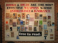 """""""Books and Ideas are the Most Effective Weapons Against Intolerance and Ignorance"""" (Lyndon B. Johnson) library book display"""