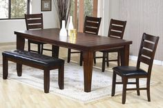 Oak Finish Contemporary Dining Furniture With Leather Seats
