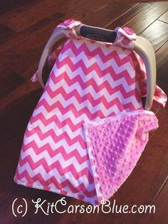 Super Cute Baby Car Seat Covers - CHEVRON in Pink with Pink Minky - Ready To Ship via Etsy