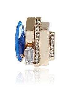 Iosselliani Gold-Plated Blue Crystal Ring | Jewellery by Iosselliani | Liberty.co.uk