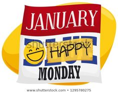 Loose-leaf calendar for Blue Monday with a round sticker of smiling emoji and yellow tape blocking the blue message and promoting a happy day. Round Stickers, Emoji, Tape, Calendar, Yellow, Round Labels, The Emoji, Life Planner, Emoticon