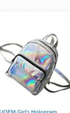 Tinksky Chic Holographic Backpack Cute Hologram School Shoulder Bag Satchel  for Girls - gift for friends(Grey) 98f655f5a849