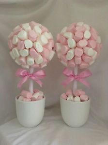 3 sizes of polystyrene ball and you can make an amazing sweet topiary tree Girl Baby Shower Decorations, Baby Shower Centerpieces, Birthday Party Decorations, Table Centerpieces, Birthday Parties, Deco Baby Shower, Baby Shower Table, Shower Party, Marshmallow Tree