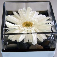 Take a candleholder and fill with decorative rocks and water. Add a real flower on top to float and tie a ribbon!