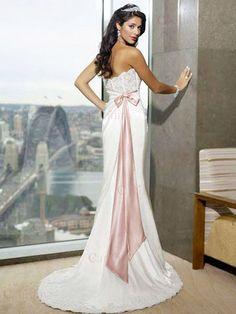 Lacing Borduur Strapless Roze Sjerp Witte Brides Trouwjurken