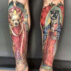 Chihuahua Annunciation leg tattoo