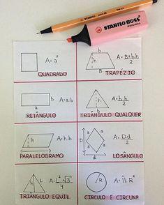 Geometria, áreas de figuras planas 📚📐 #matemática #geometria #resumo #vestibulanda #vestibular #mapamental #resumodreamy