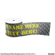 Steel Diamond Plate Background Satin Ribbon $19.05 #Zazzle Steel Diamond plate panel covering a spot on the floor. Industrial steampunk machine design. Great for Ribbon cutting ceremonies, New Construction areas, retirement parties, birthday parties, you name it! Enough room for long company name and area or phone number.
