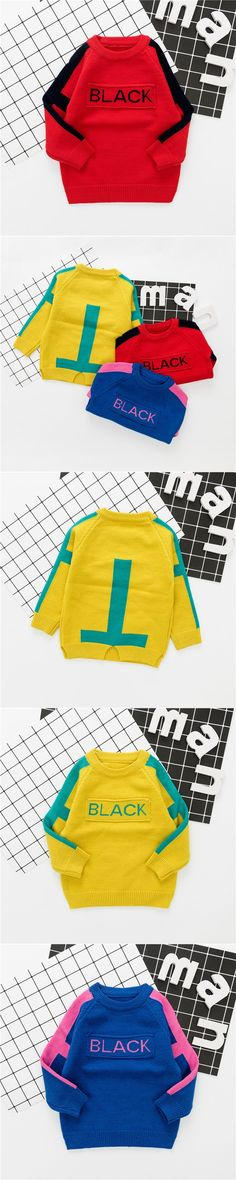 Autumn Winter Baby Boys Letter Long Sleeve O Neck Knitwear Pullover Casual Kids Sweaters Jumper Outerwear