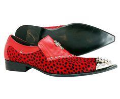 Men's Dress Shoes Fiesso Italian Genuine Leather Suede Red Slip On Loafers   #Fiesso #LoafersSlipOns
