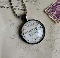 Hometown pride!  Show your Buffalove - vintage Buffalo New York postmark necklace, by CrowBiz on Etsy