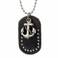 R&B Joyas - Collar unisex para hombre y mujer estilo náutico, cadena bolas con colgante placa militar y ancla de mar, cuero y metal, color negro / plateado: Amazon.es: Joyería
