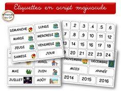 Etiquettes pour le rituel de la date en GS, écriture en capitales d'imprimerie !