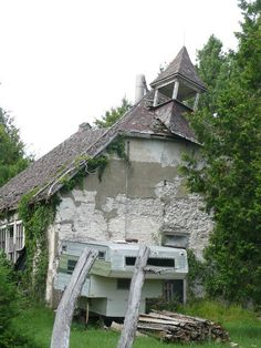 Ruins of an old church/ school house on Manitoulin Island, Ontario.