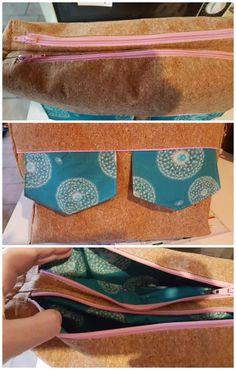 Besace Zip-Zip cousue par Coco en tissu liège et Liberty - Patron couture Sacôtin