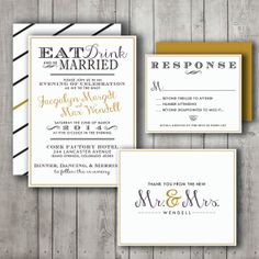 Wedding Invitation Suite Set - Printable, Custom, DIY - MODERN, Chic, Black and Gold, Eat Drink and Be Married (Wedding Design #26) on Etsy, $35.00