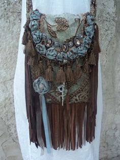 Handmade Boho Fringe Gypsy Hippie Shoulder Bag Cross Body Western Purse tmyers #Handmade #ShoulderBag