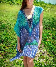 Look at this #zulilyfind! Blue & Teal Sheer Lace-Up V-Neck Tunic #zulilyfinds